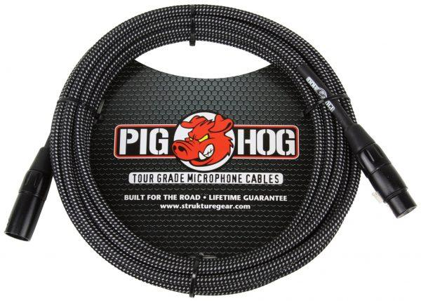 Pig Hog Black & White Woven Mic Cable, 20ft XLR