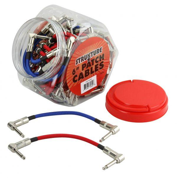 """6"""" Woven Right Angle Patch Cables Red/Blue (48 pcs. Per Fishbowl Display)"""