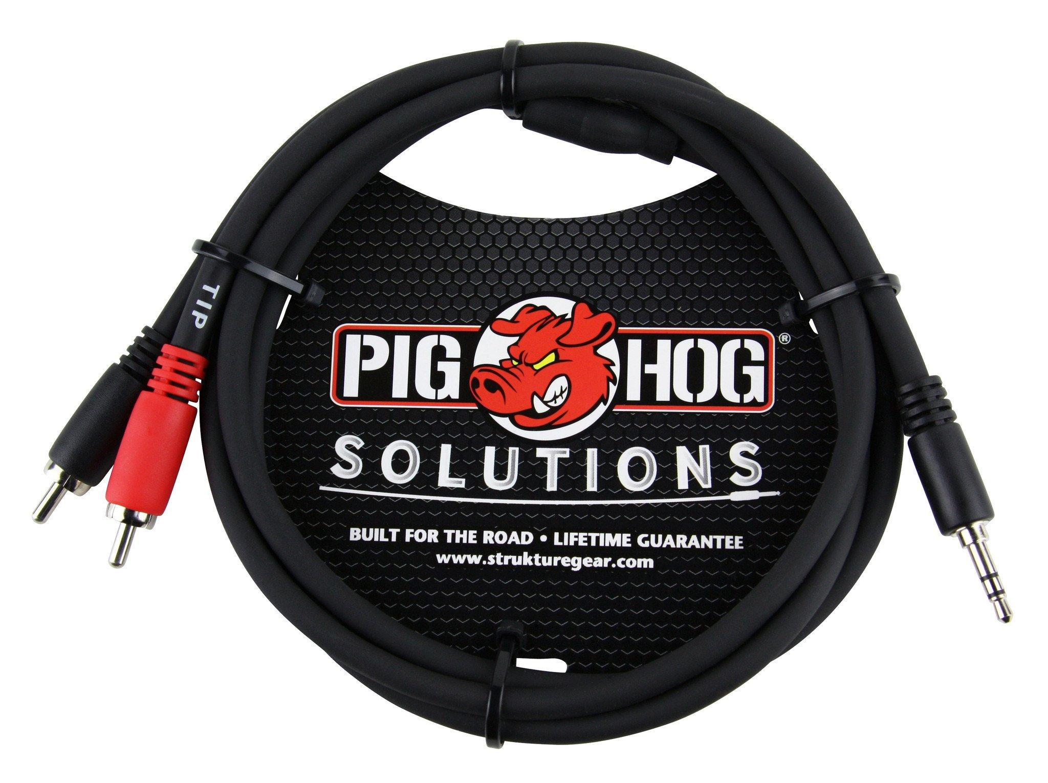 Pig Hog Solutions - 3ft Stereo Breakout Cable, 3.5mm to Dual RCA