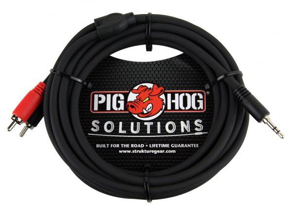 Pig Hog Solutions - 10ft Stereo Breakout Cable, 3.5mm to Dual RCA