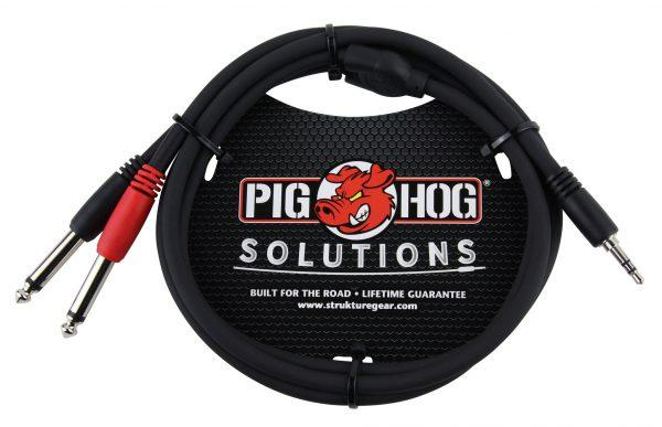 """Pig Hog Solutions - 3ft Stereo Breakout Cable, 3.5mm to Dual 1/4"""""""