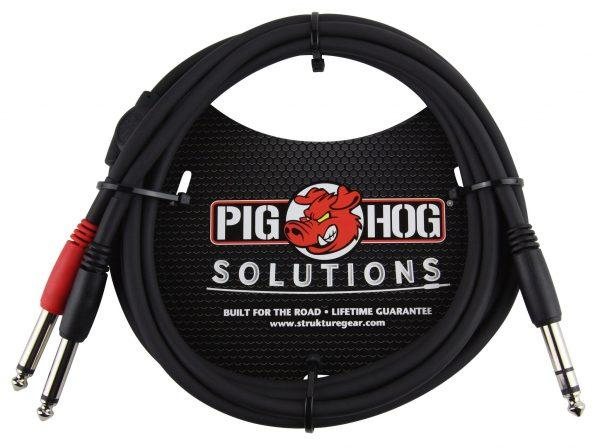"""Pig Hog Solutions - 6ft TRS(M)-Dual 1/4"""" Insert Cable"""