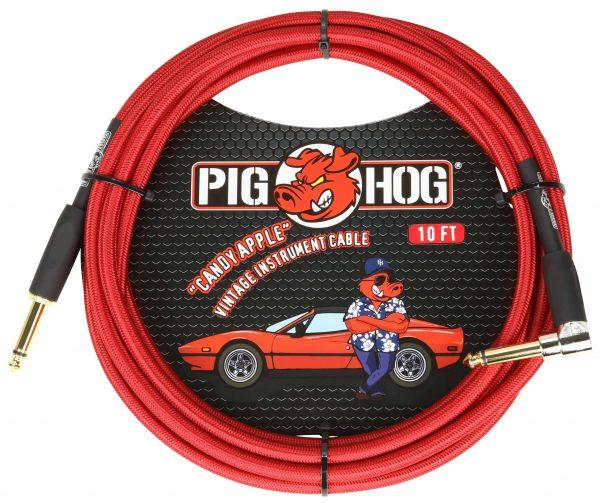 """Pig Hog """"Candy Apple Red"""" Instrument Cable, 10ft. Right Angle"""