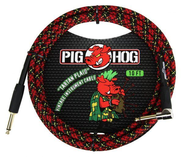 """Pig Hog """"Tartan Plaid"""" Instrument Cable, 20ft Right Angle"""