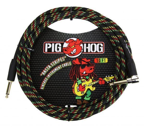 "Pig Hog ""Rasta Stripes"" Instrument Cable, 20ft Right Angle"