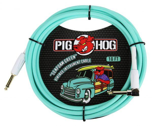 """Pig Hog """"Seafoam Green"""" Instrument Cable, 10ft Right Angle"""