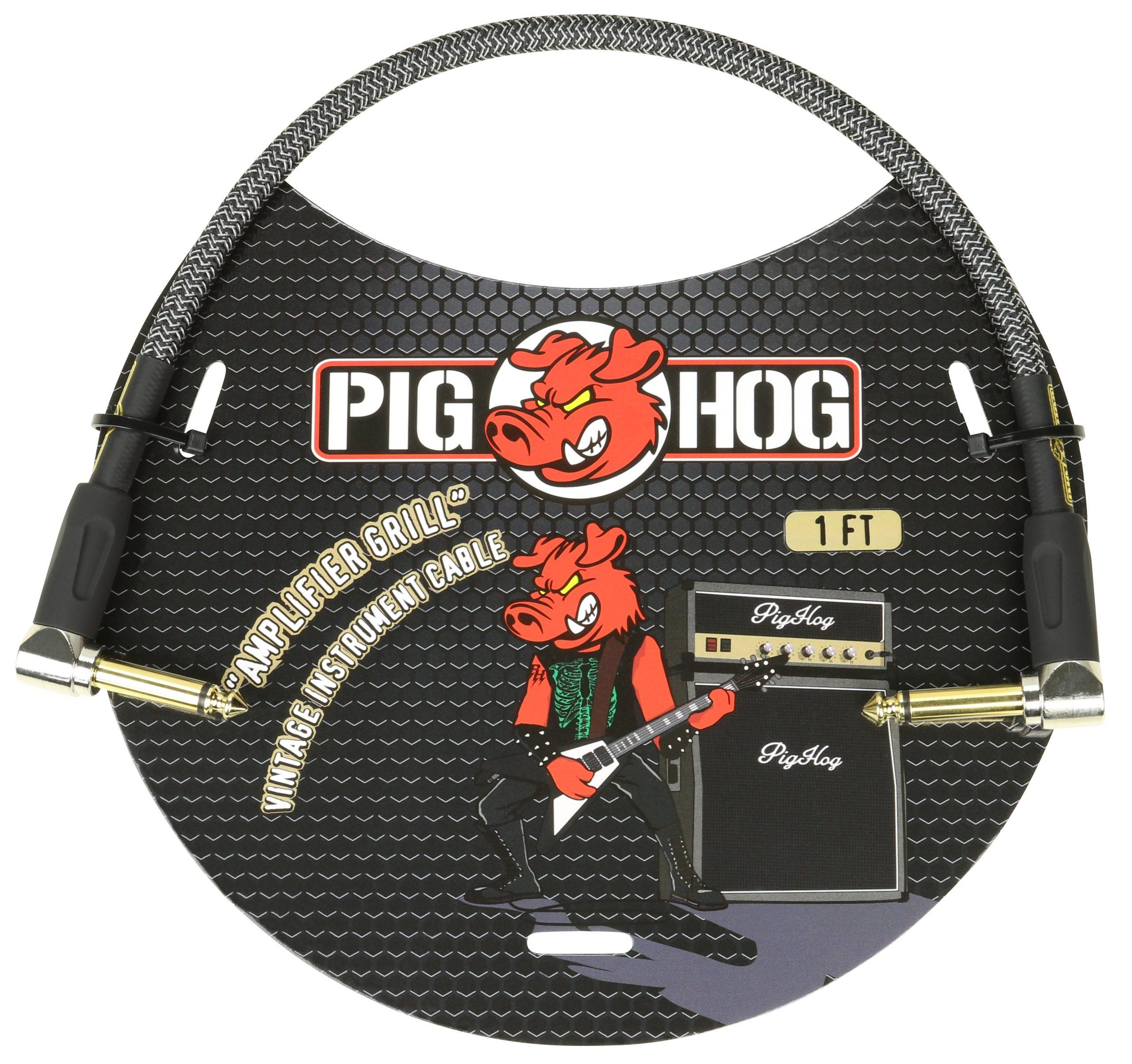 """Pig Hog """"Amplifier Grill"""" 1ft Right Angled Patch Cables"""
