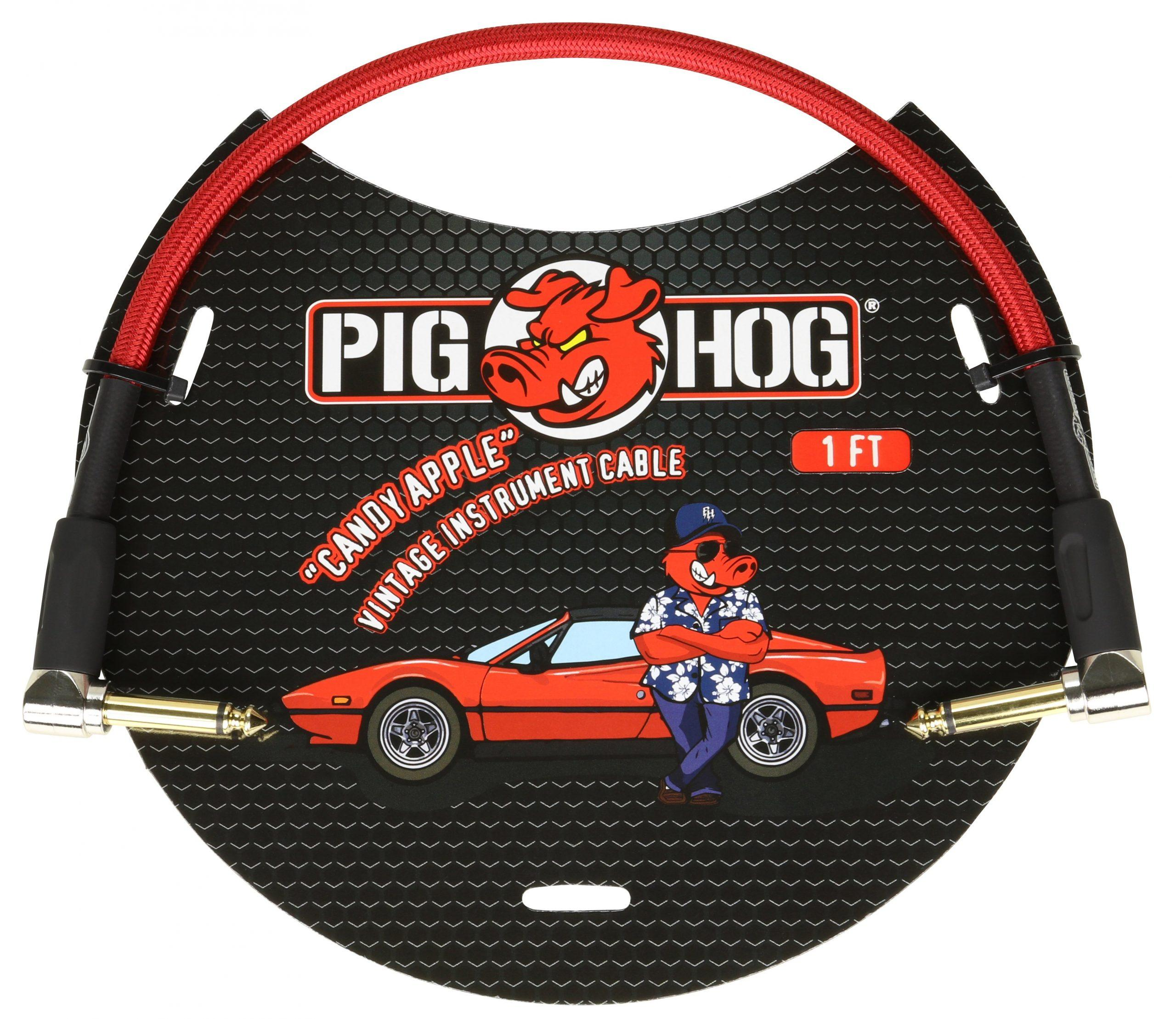 """Pig Hog """"Candy Apple Red"""" 1ft Right Angled Patch Cables"""