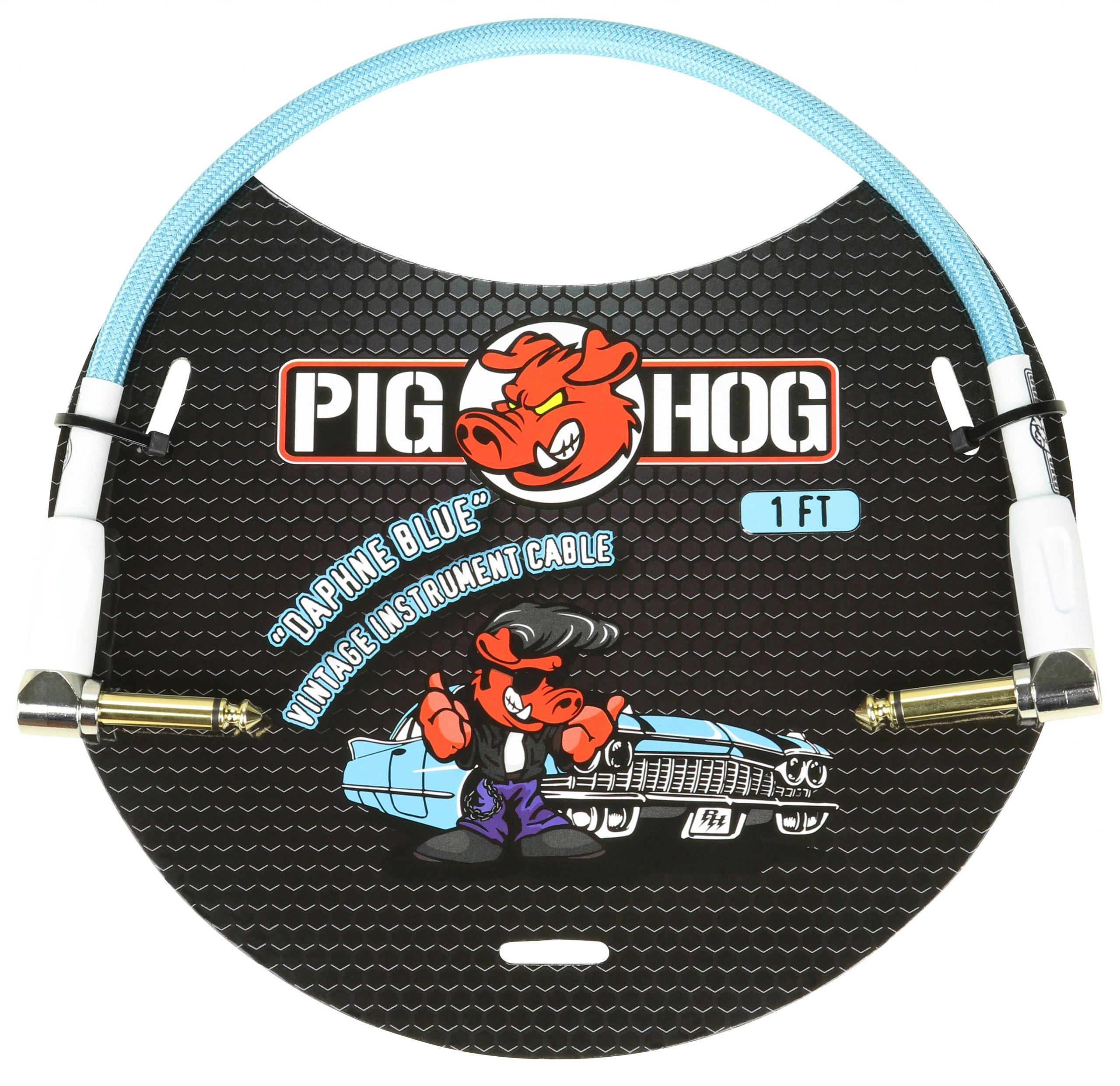 """Pig Hog """"Daphne Blue"""" 1ft Right Angled Patch Cables"""