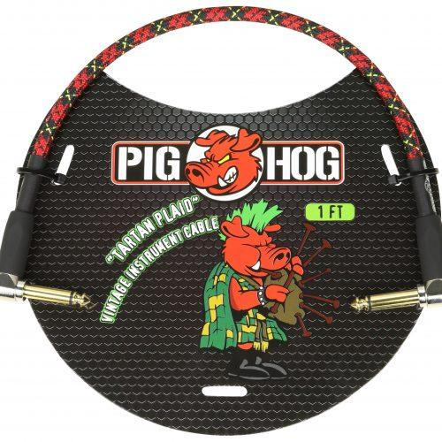 """Pig Hog """"Tartan Plaid"""" 1ft Right Angled Patch Cables"""