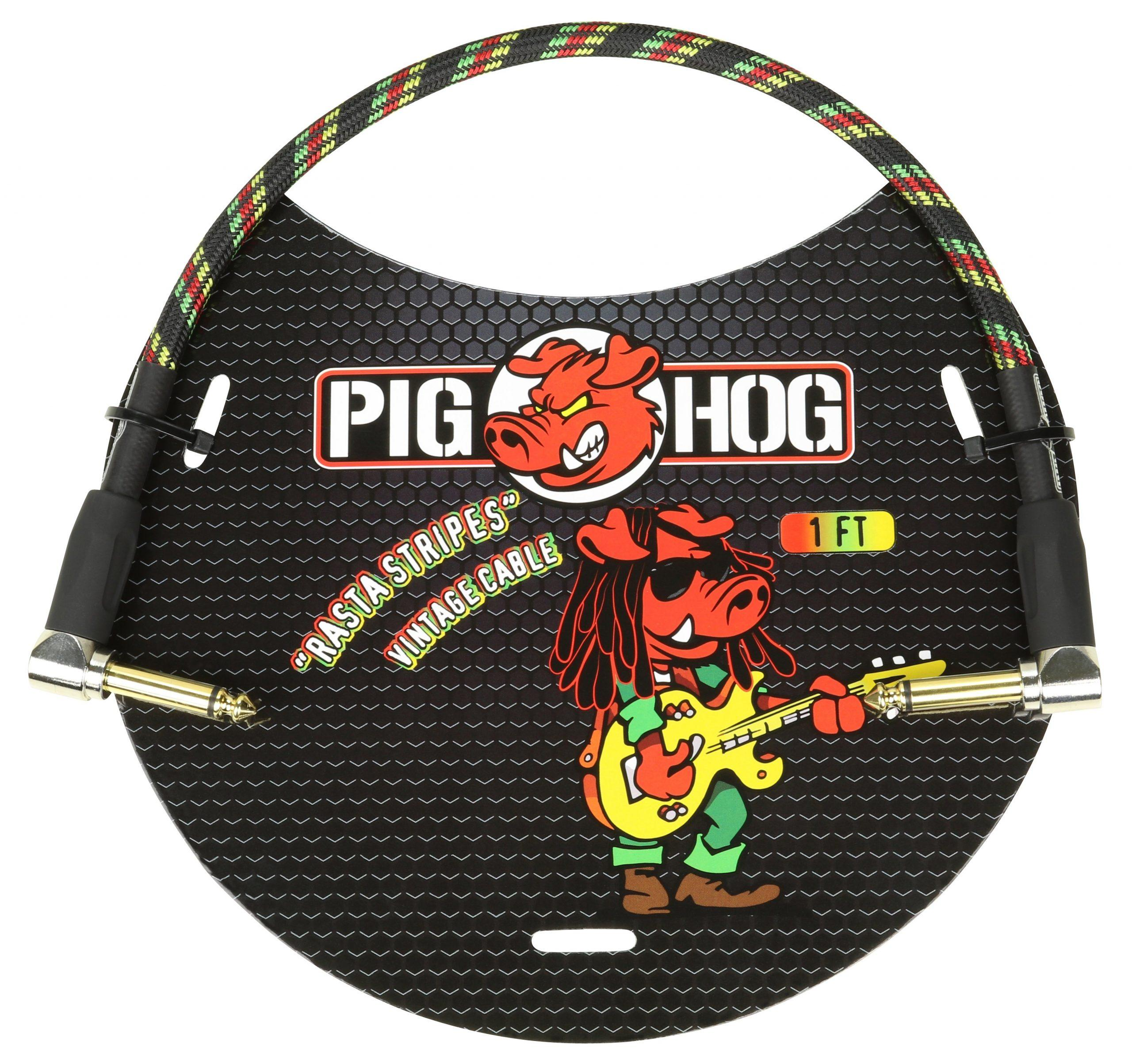 """Pig Hog """"Rasta Stripe"""" 1ft Right Angled Patch Cables"""