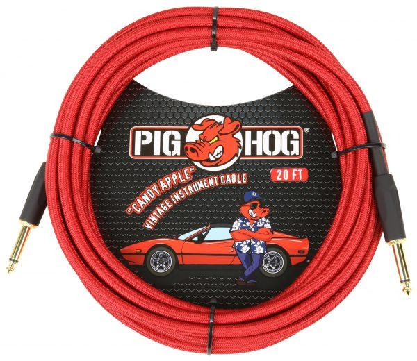 """Pig Hog """"Candy Apple Red"""" Instrument Cable, 20ft"""