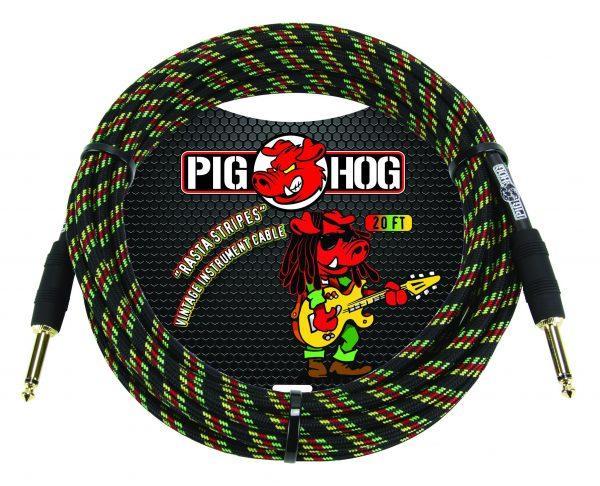 "Pig Hog ""Rasta Stripes"" Instrument Cable, 10ft"