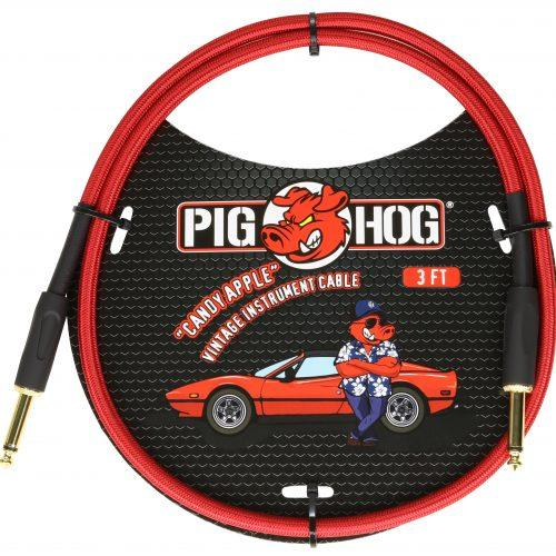 """Pig Hog """"Candy Apple Red"""" 3ft Patch Cables"""