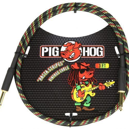 """Pig Hog """"Rasta Stripe"""" 3ft Patch Cables"""