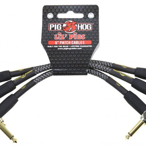"""Pig Hog Lil Pigs Vintage """"Amp Grill"""" 6in Patch Cables - 3 pack"""