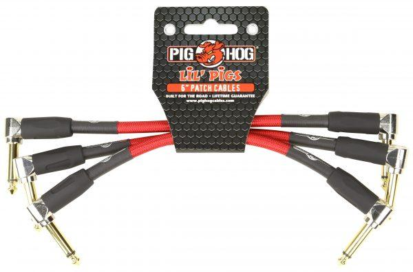 """Pig Hog Lil Pigs Vintage """"Candy Apple"""" 6in Patch Cables - 3 pack"""
