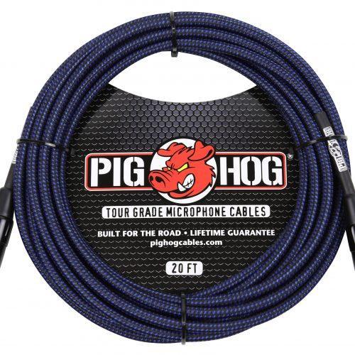 Pig Hog Black & Blue Woven Mic Cable, 20ft XLR
