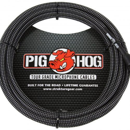 Pig Hog Black & White Woven Mic Cable, 10ft XLR