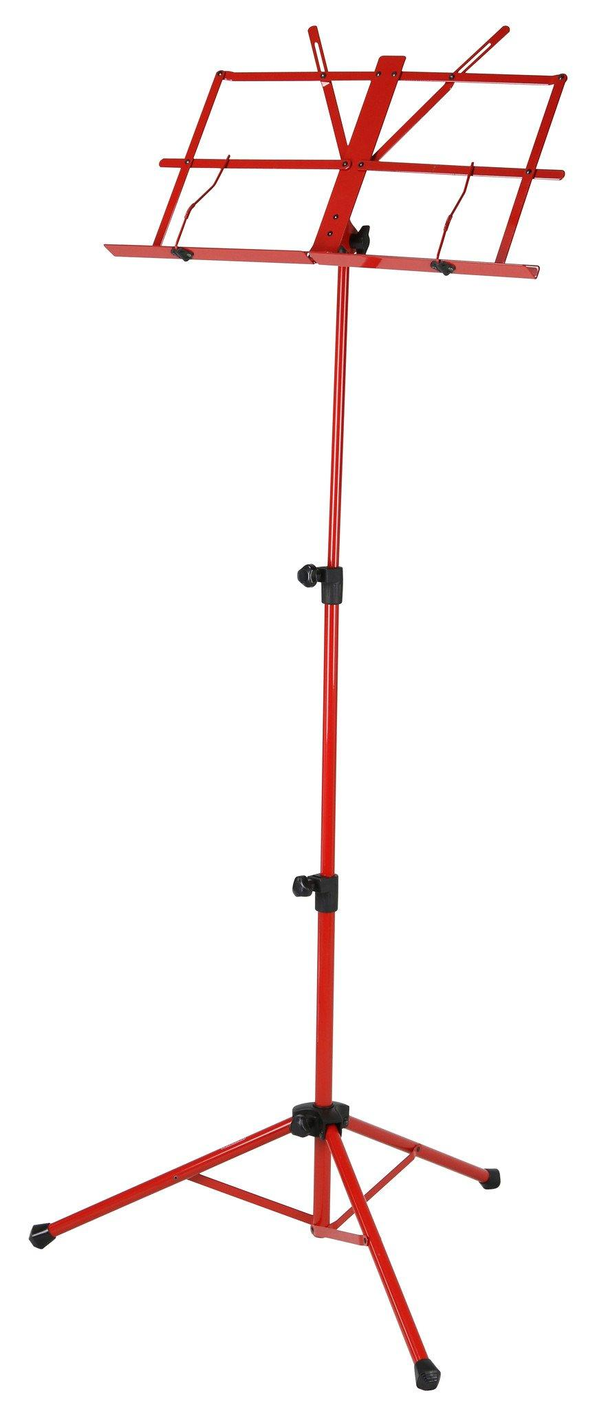 Deluxe 3-Part Folding Music Stand W/Bag - Red